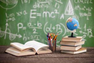 chalk board background with textbooks