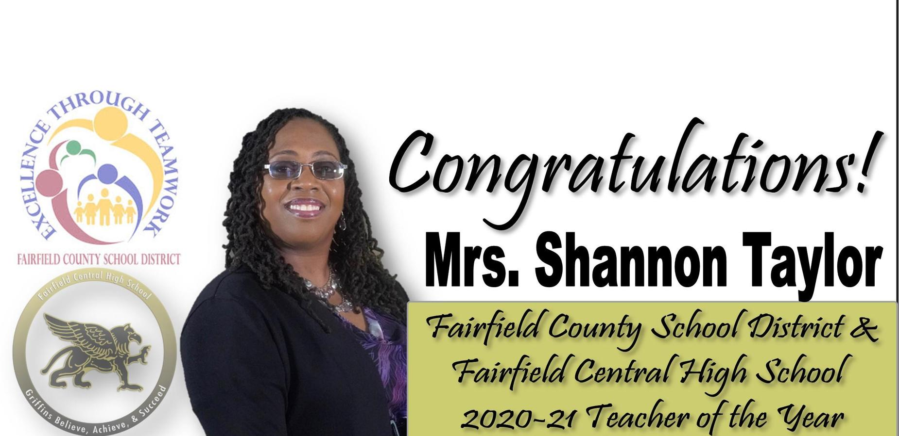 Congratulations Mrs. Shannon Taylor FCSD & FCHS 2020-21 Teacher of the Year