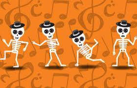 Skeletons dancing with orange background
