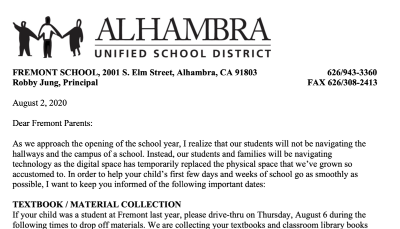 Fremont Welcome Back Letter (School Opening Plan) Featured Photo