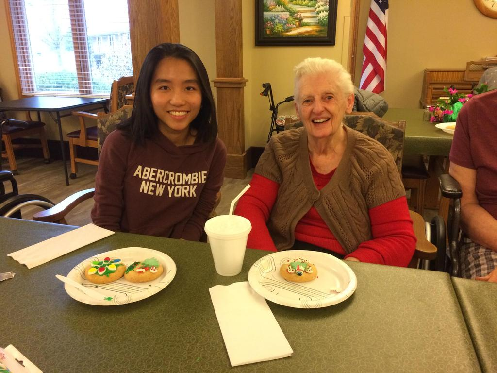 Once a month Mrs. Faulk takes a group of KHS students to volunteer.  In December the volunteers decorated cookies with residents at American House.