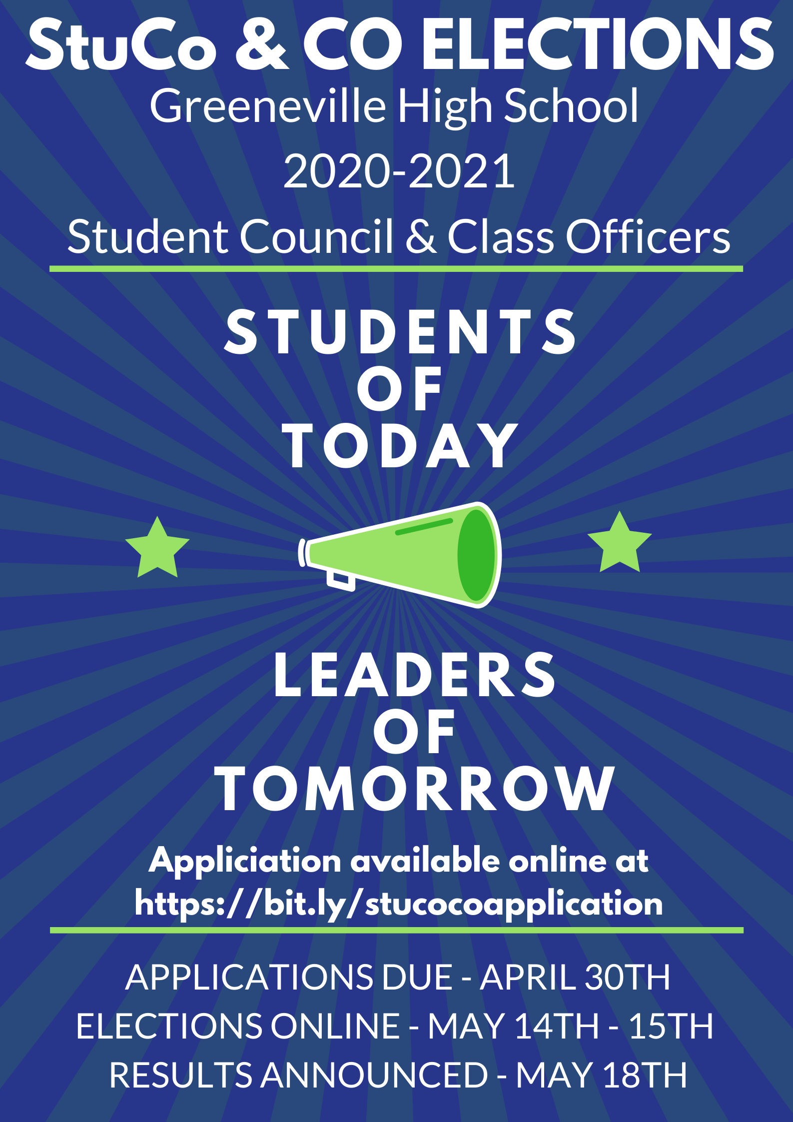 2020-2021 StuCo & CO Elections - May 14th - 15th