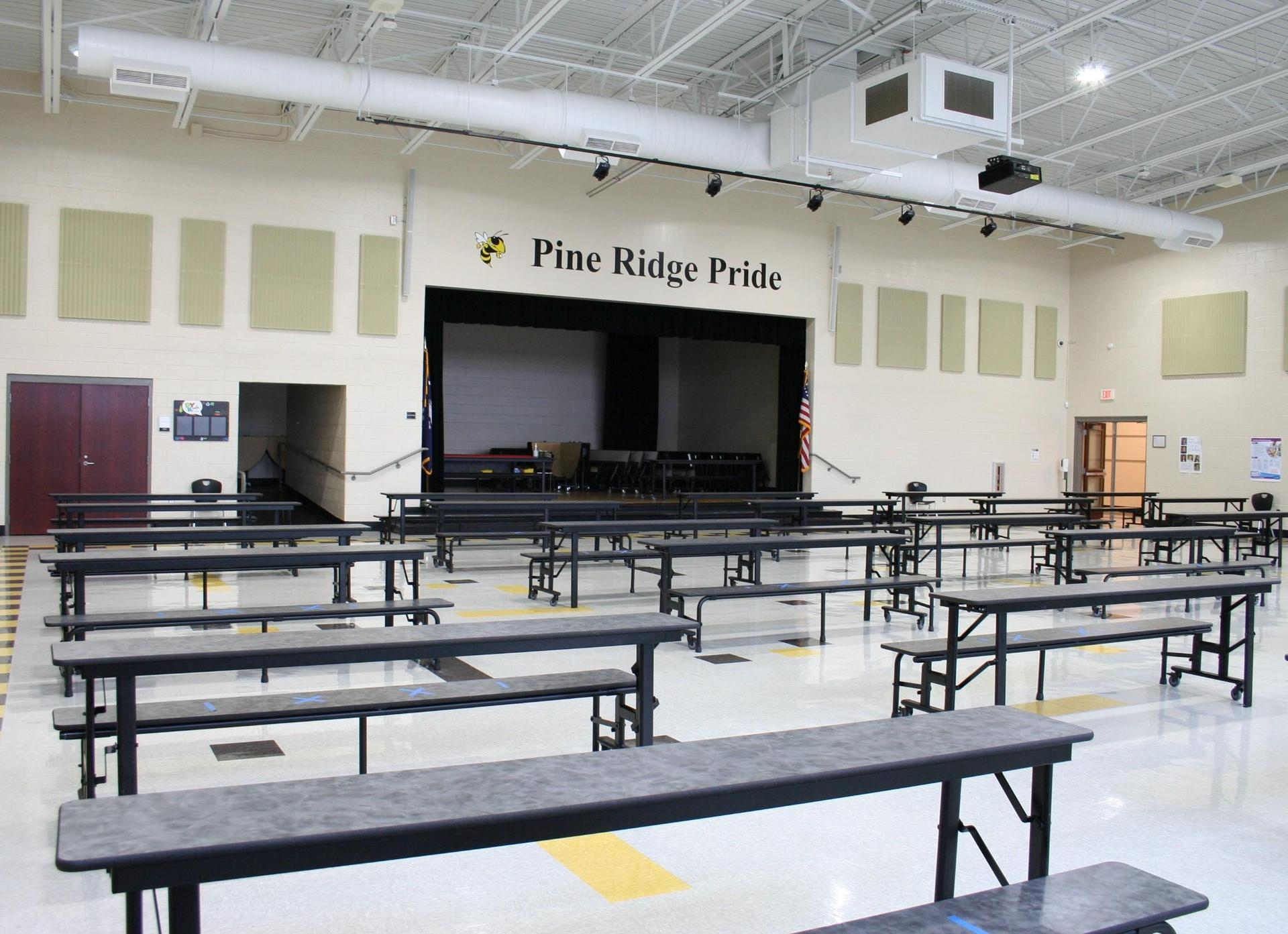 Pine Ridge Middle Cafeteria and Stage View