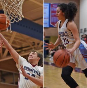 Boy shooting basketball; girl dribbling