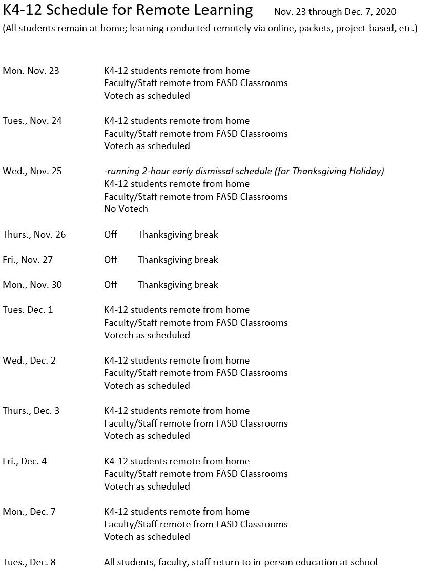 Virtual Schedule Nov 23 through Dec 7