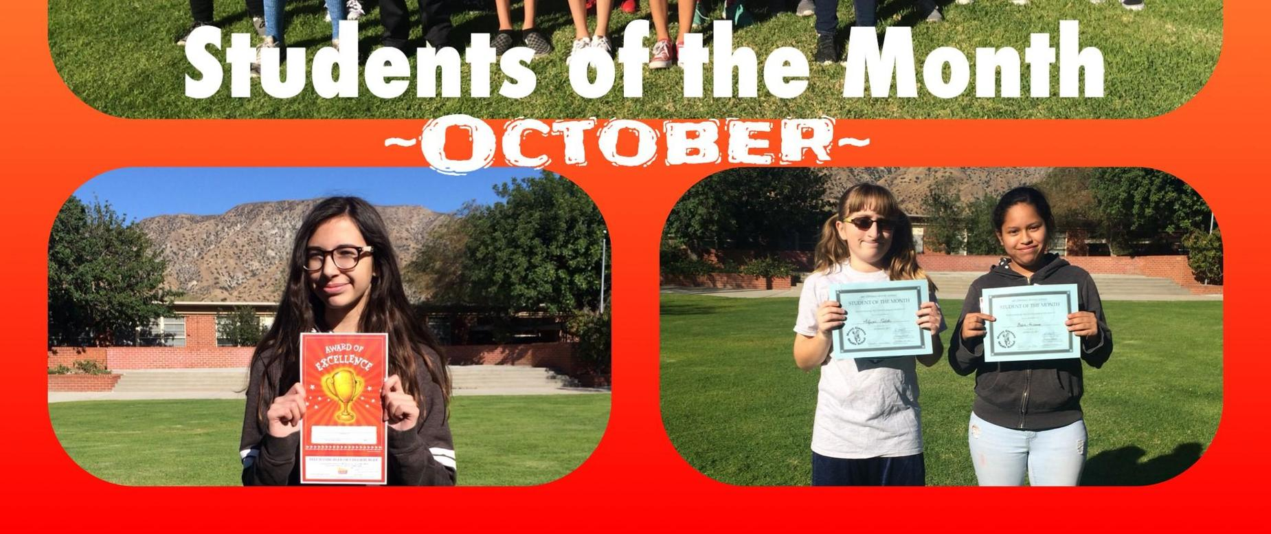 October's Students of the Month