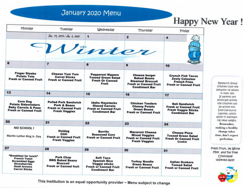 School Lunch Menu for January 2020