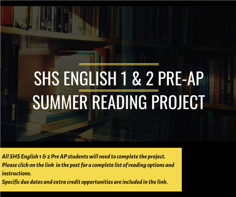 SHS English 1 & 2 Pre AP Summer Reading Assignment Info Featured Photo