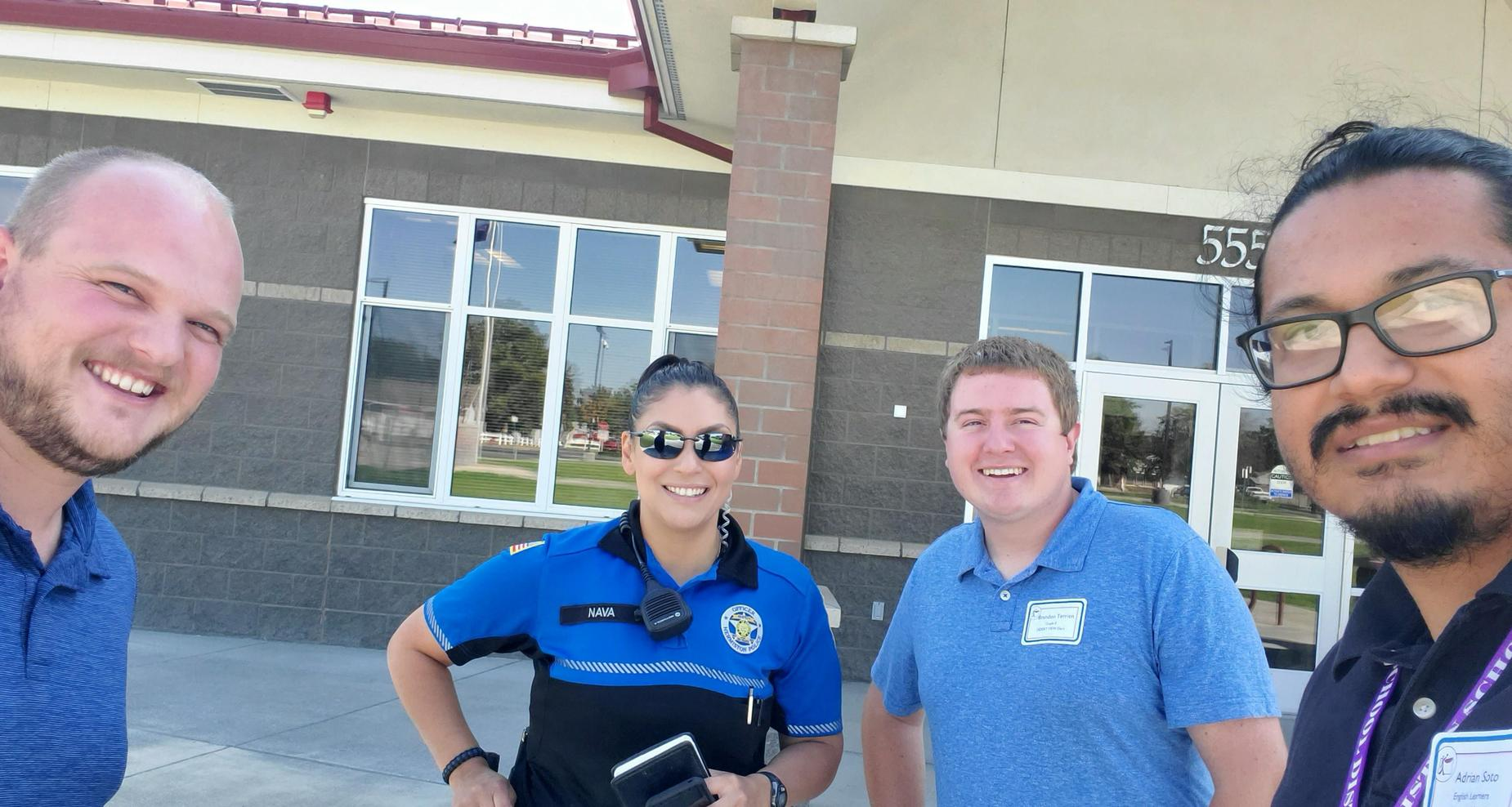 New teachers and Officer Nava at West Park.