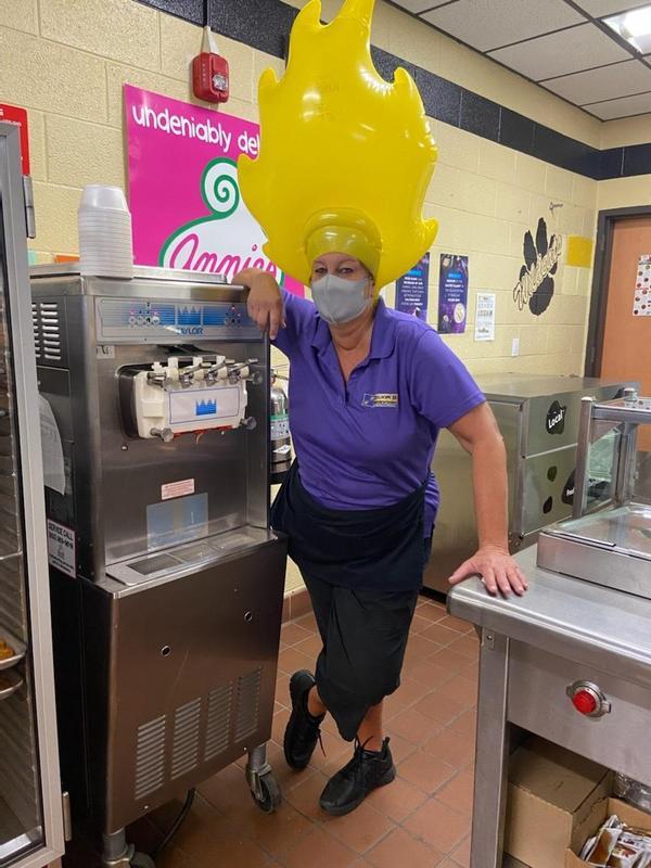 Pam Tully with Frozen Yogurt Machine