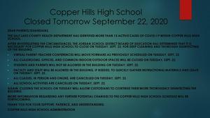 CHHS Closed September 22, 2020