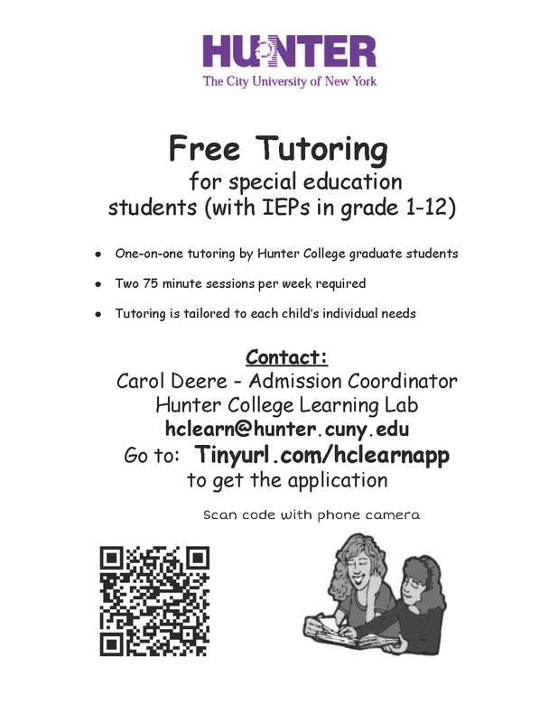 Free Tutoring from Hunter College Graduates for students with disabilities