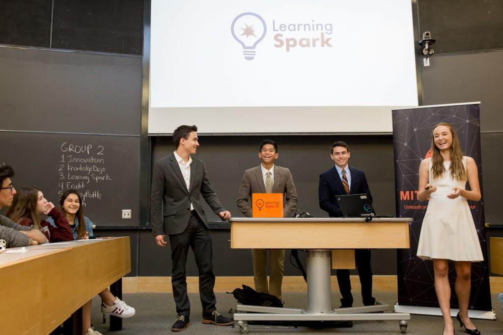 High School Entrepreneur students present their education start-up, Learning Spark, at the Massachusetts Institute of Technology as part of the MIT Launch clubs competition.