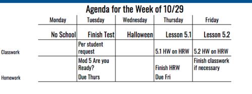 7th Grade Agenda for Week of 10/29