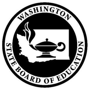 State Board of Education logo outline of the state of washington and a latern