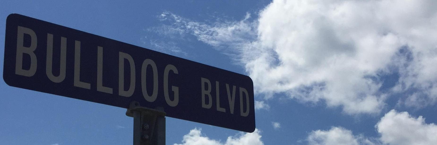 bulldog blvd road sign