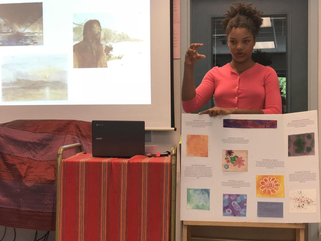 Student presenting on variations watercolor drawings.