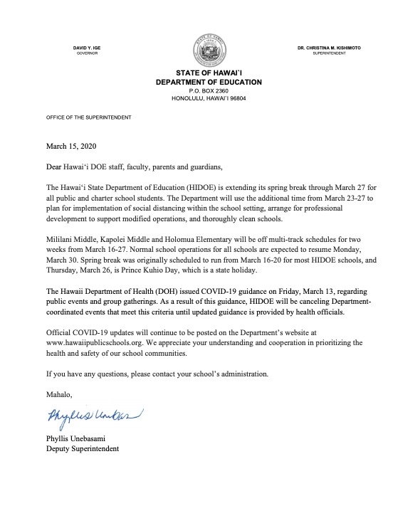Spring Break Extended to March 27, 2020 Letter