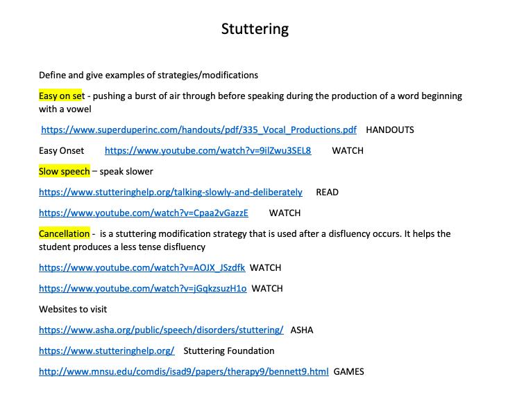 Stuttering Information