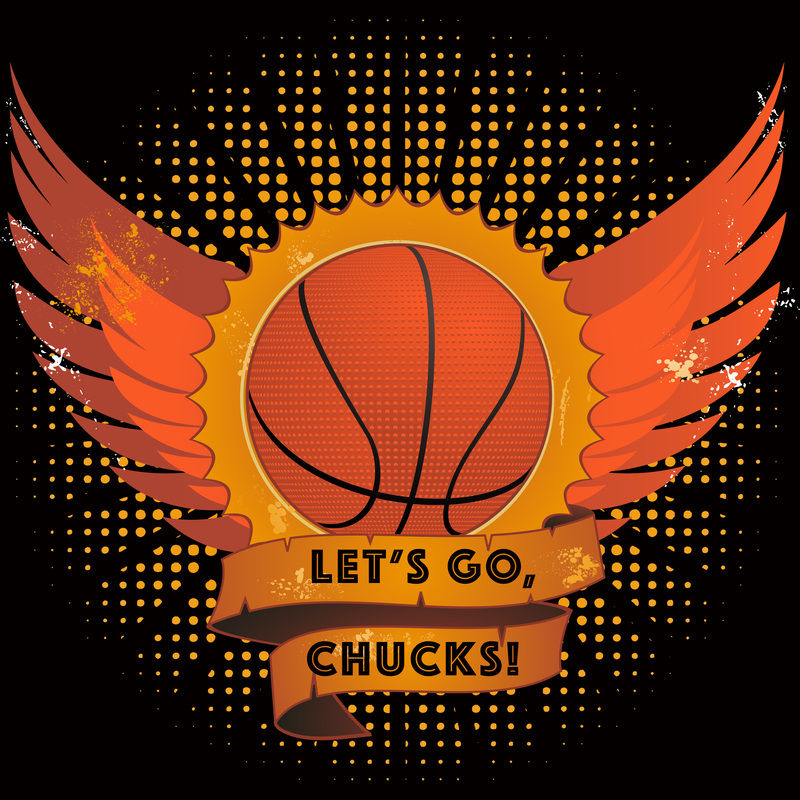 Let's Go Chucks Basketball Logo with wings