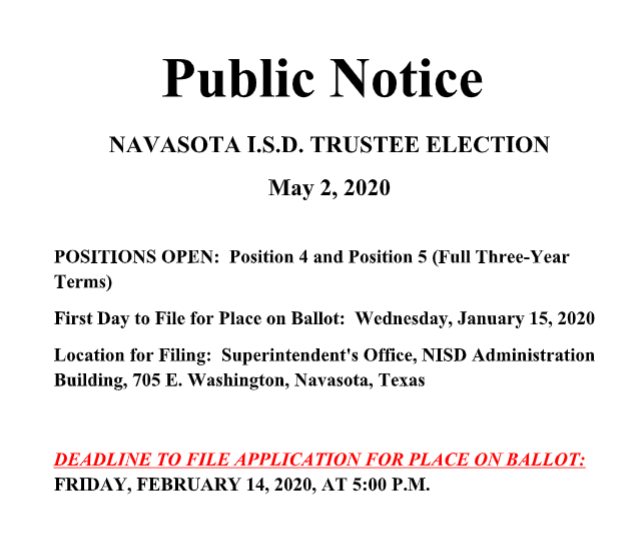 PUBLIC NOTICE OF ELECTION Featured Photo