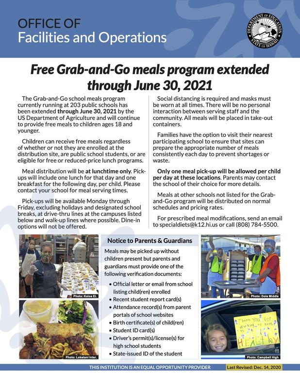 The Grab-and-Go school meals program extended through Jun. 30, 2021 Thumbnail Image