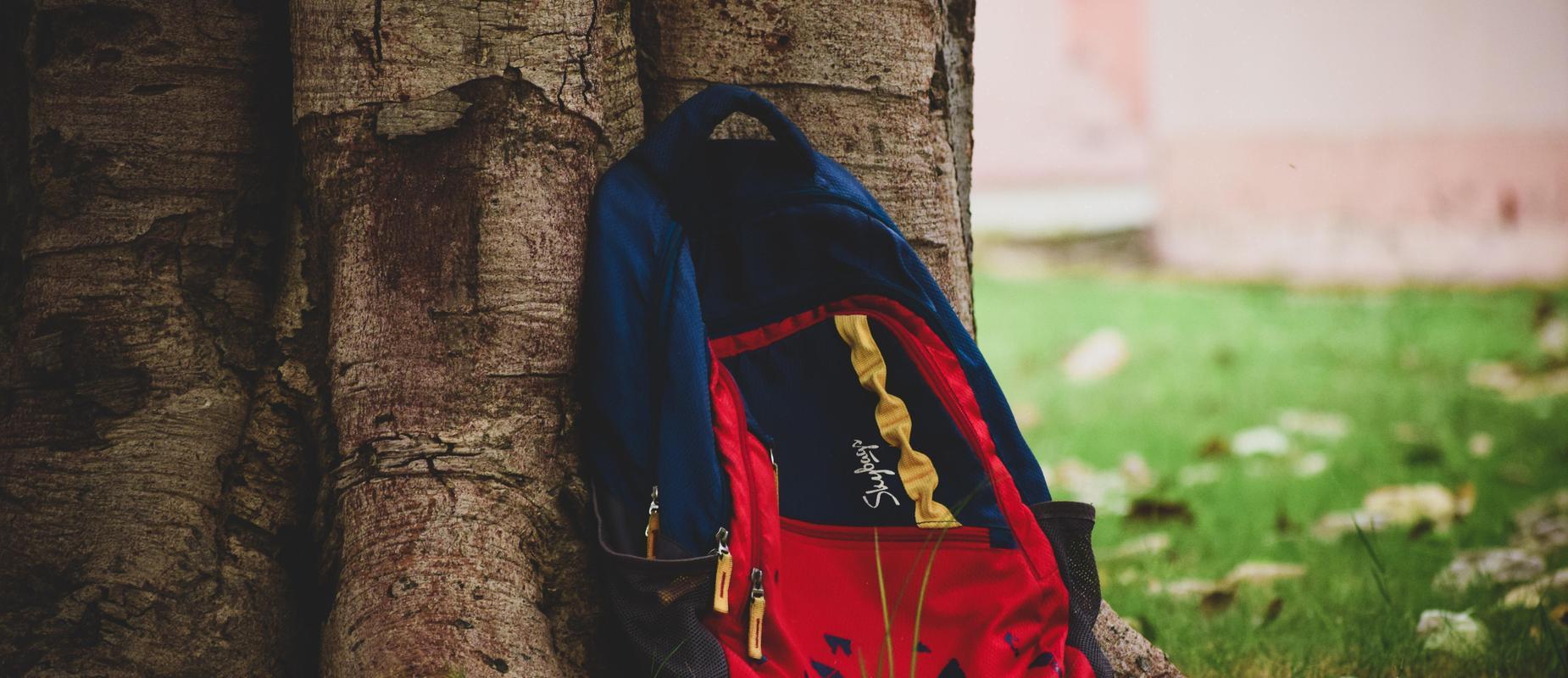 Image of bookbag resting against tree