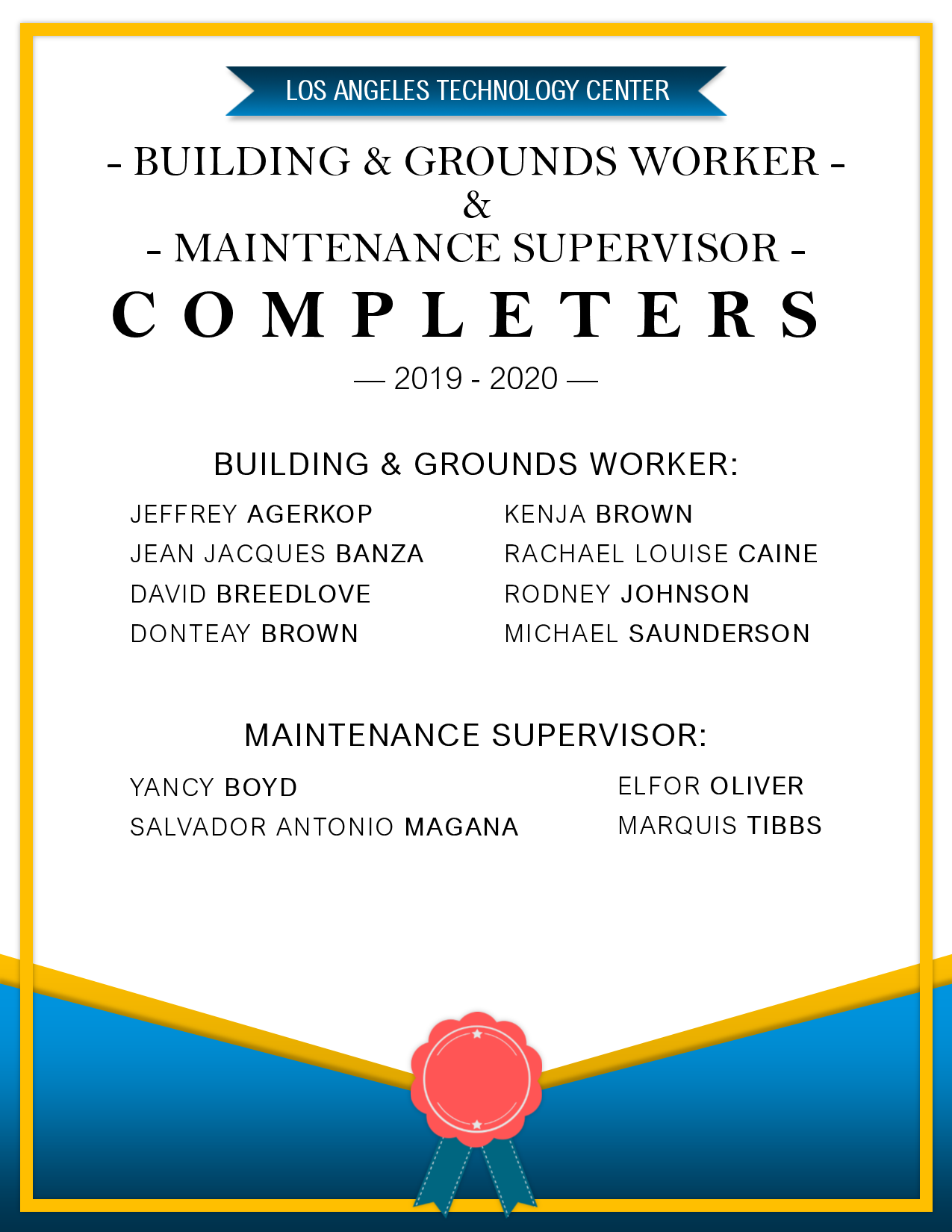 B&G and Maintenance Completers