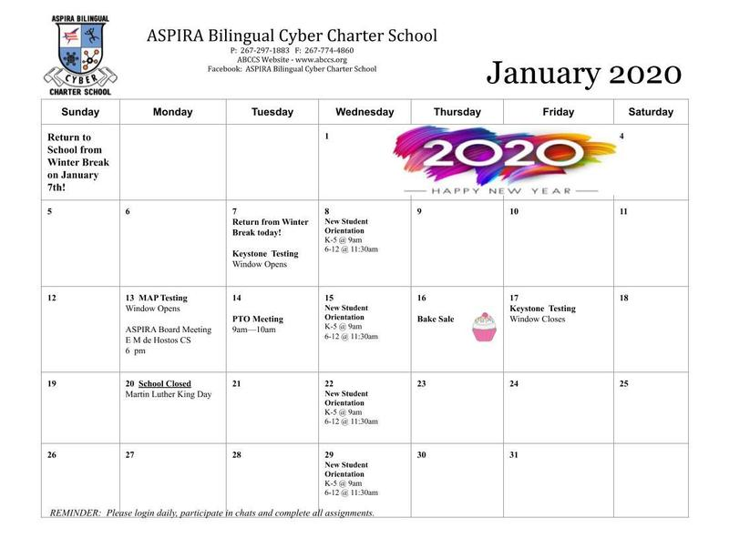 Activities Calendar for the month of January Featured Photo