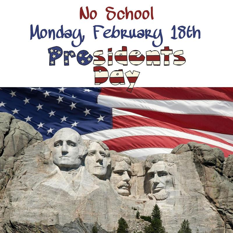 NO SCHOOL - Monday, February 18th Thumbnail Image