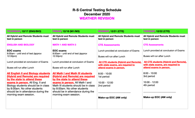 Updated Fall 2020 Exam Schedule Featured Photo