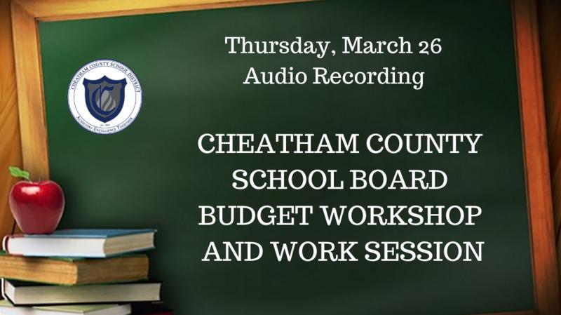 March 26 School Board budget workshop, work session