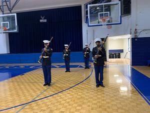 ROTC Cologuard performing for students