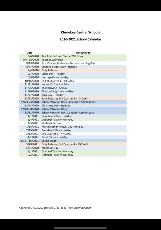 CCS School Calendar_Revised 9/28/2020