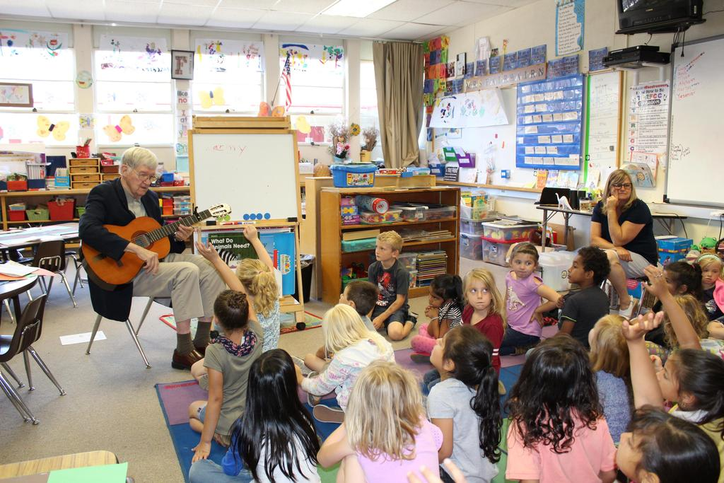 Mrs. Fairbairn and with kinder class and musical guest.