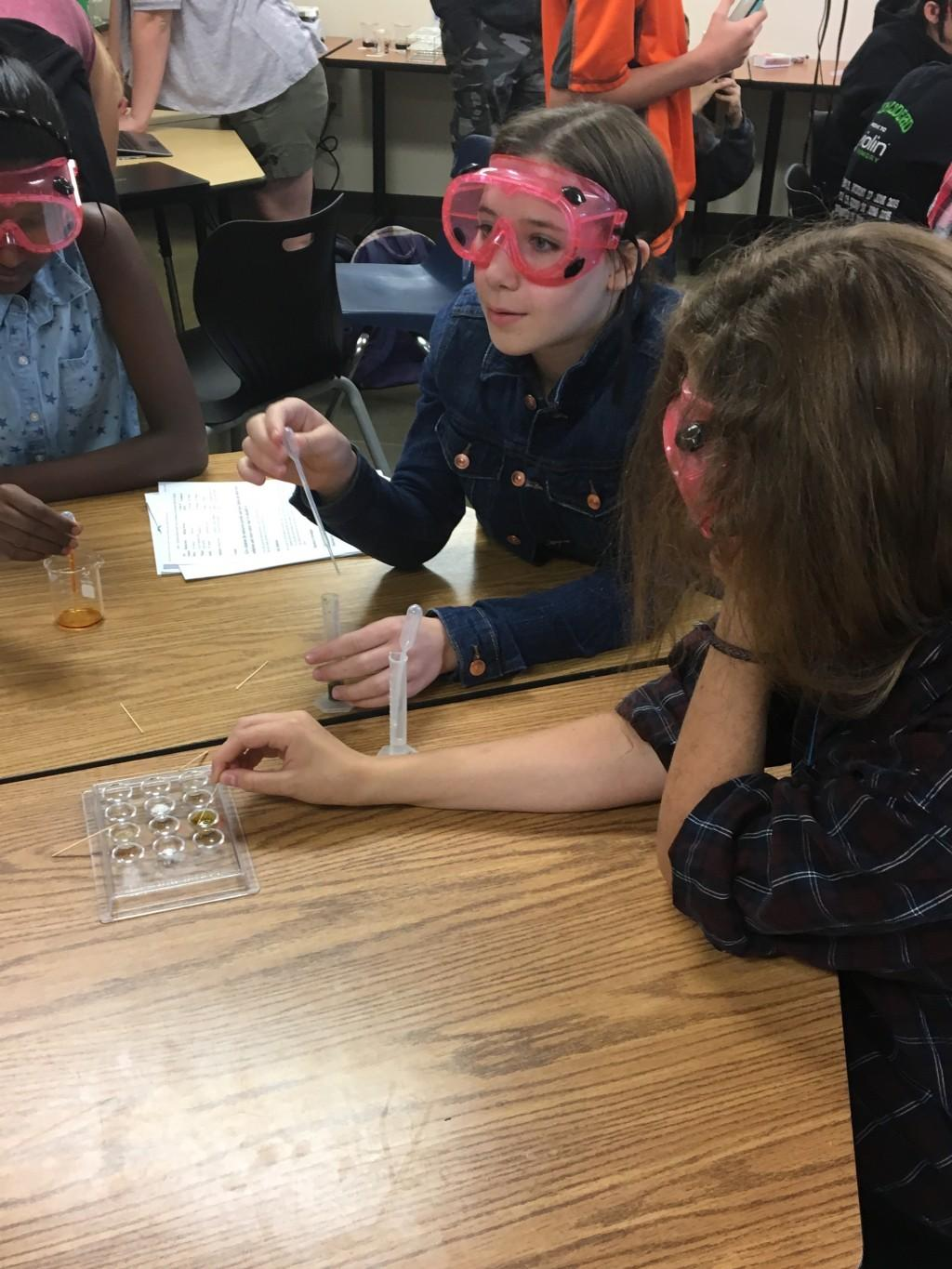 kids wearing goggles science class