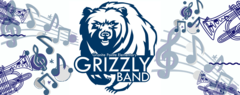 A blue and white banner with the Grizzly Band Logo and musical instruments