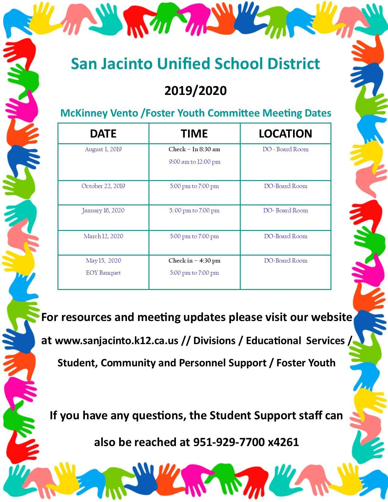 2019-2020 Meeting Calendar Foster Youth