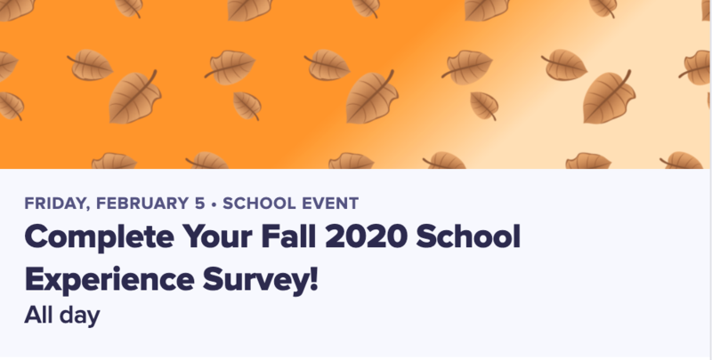Orange banner with falling leaves titled Complete Your Fall 2020 School Experience Survey