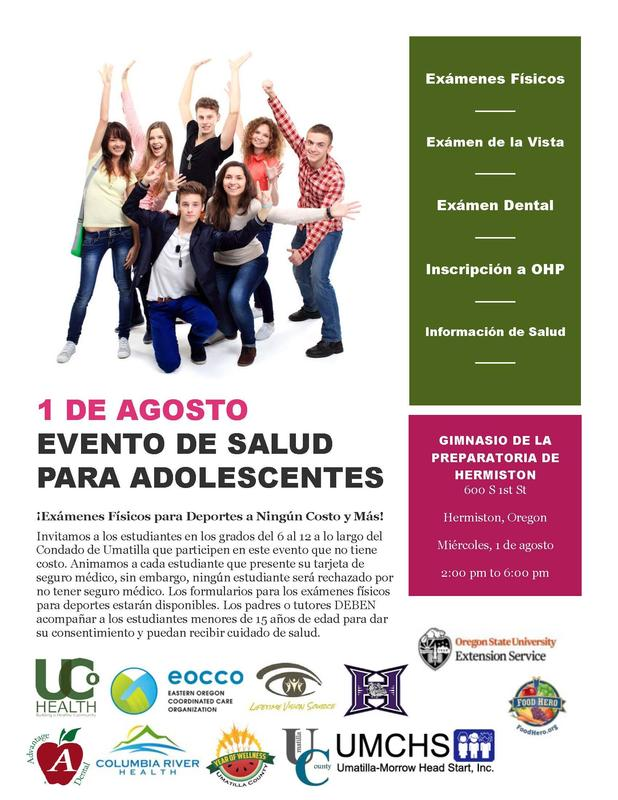 Spanish flyer promoting a wellness event at Hermiston High School