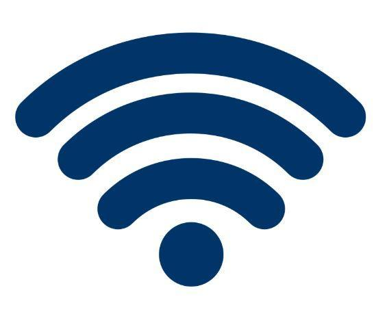 Navy blue symbol showing WiFi access.