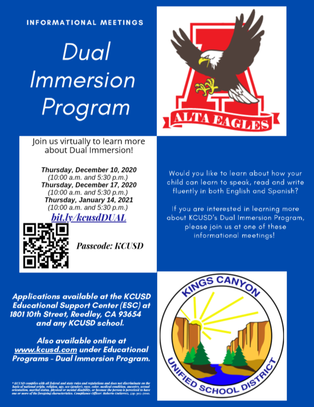 Dual Immersion Program flyer