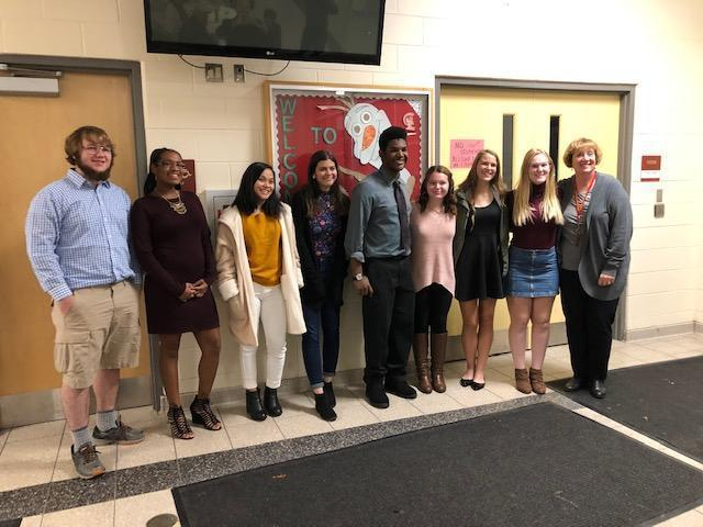 NHS Members: Grant Suer, Myiah Givens, Susmita Subba, Amberly Day, Nichols Goodwin, Hannah Rose, Sarah Listermann, Kaycie Garnder, and Ms. Auffrey