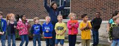 North Elementary students cheer on the Brewer Bears soccer team prior to the Playoff Game on March 29.