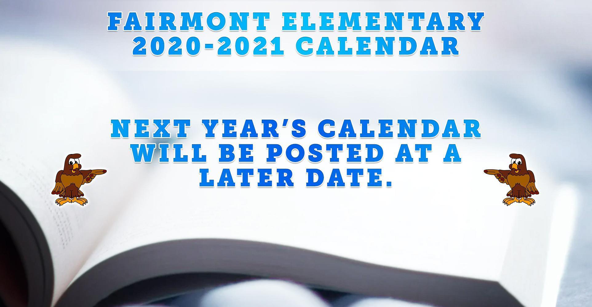 2020-2021 Fairmont Calendar