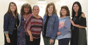 Pictured are (from left) Dana Brown, KSES; Cindy Wells, HMS; Misty Mayo, ACES; Angela Patterson, Finance & Operations Specialist; Teresa Nuckols, ECES; and Sherri Shambaugh, SHS.