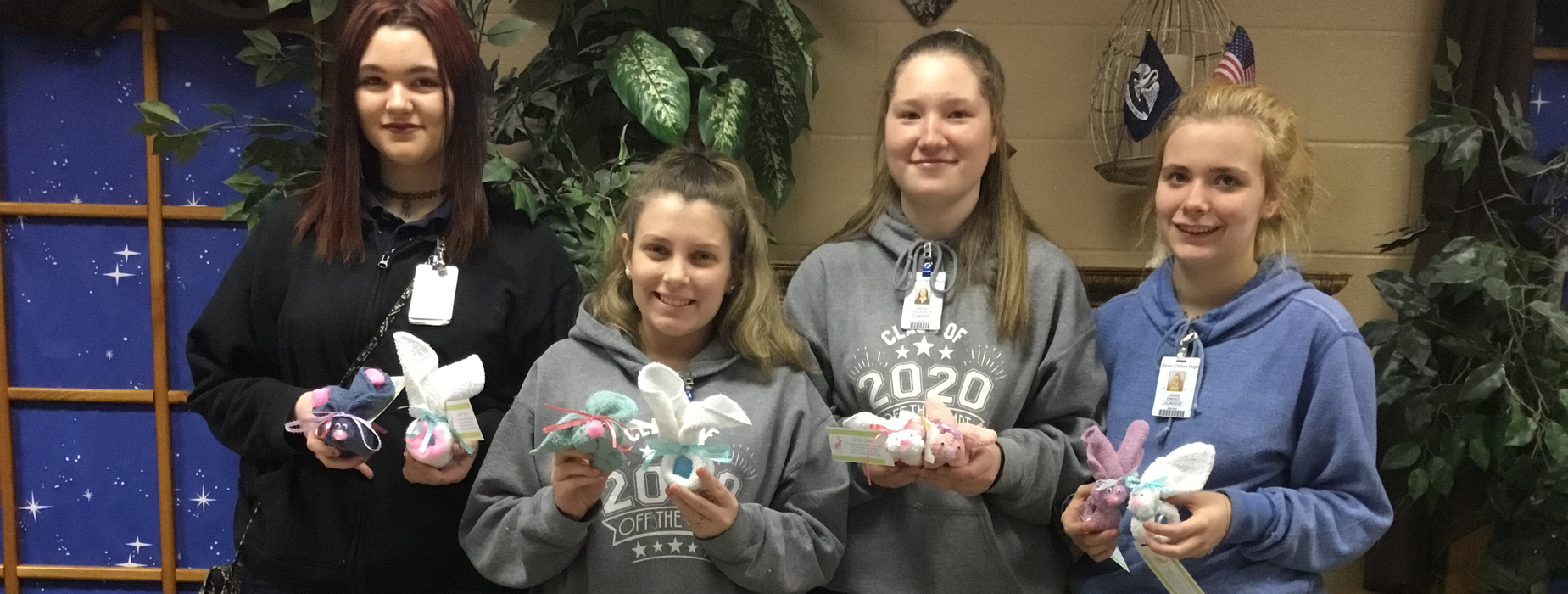 Booboo Bunnies made by Child Development students. Kaitlyn, Kenndey, Sadie and Janie