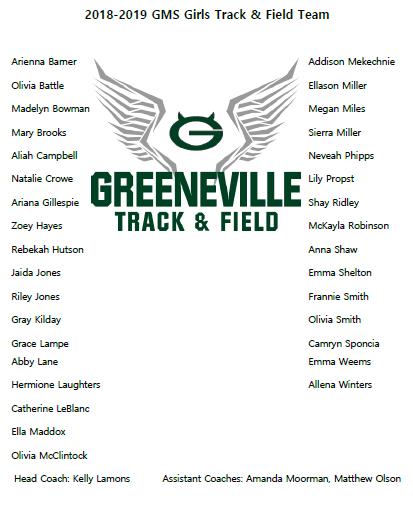 2018-2019 GMS Track & Field Team (Girls)