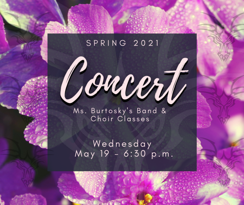 Concert information with a purple flower background