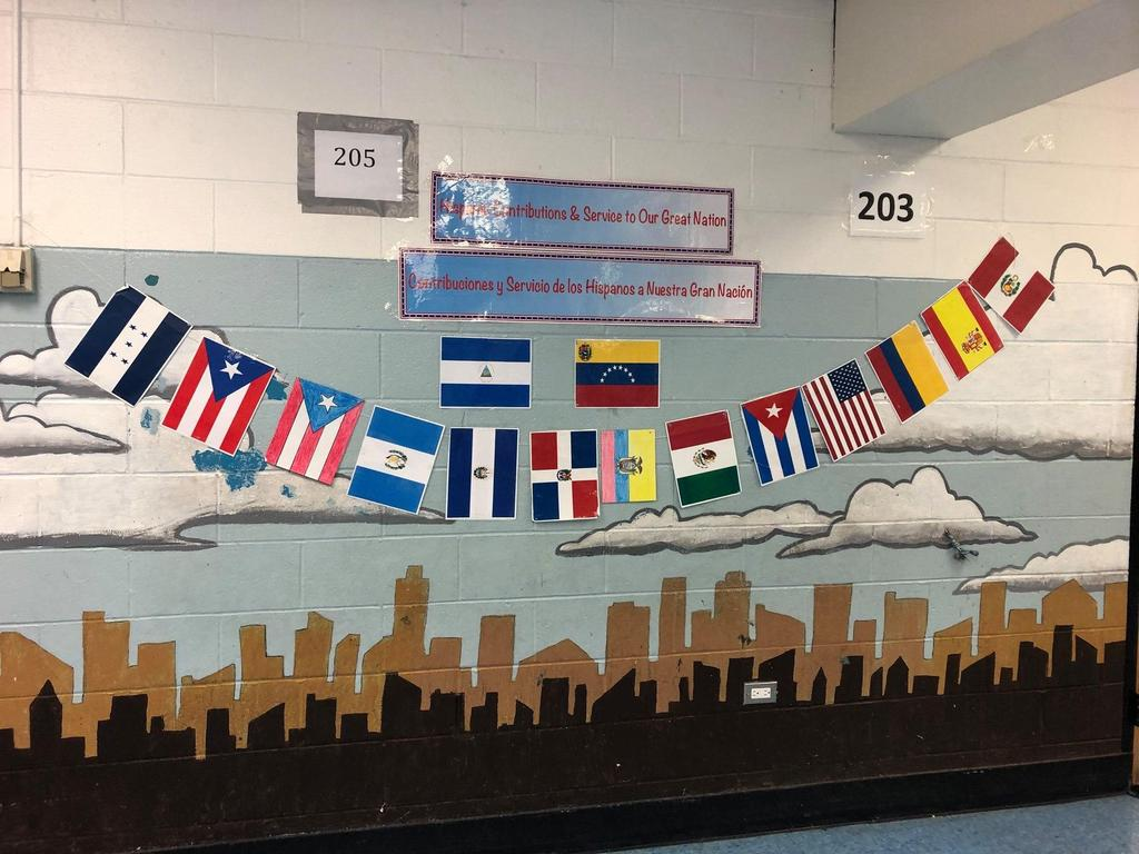 Banner of the different hispanic nationalities of the students
